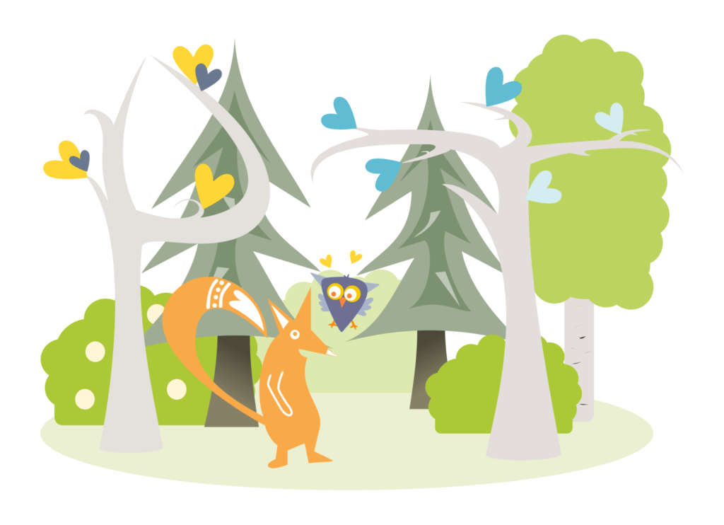 Kettu ja pöllö metsässä lastenjuhlat