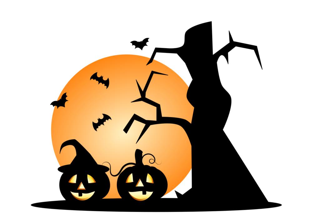 Halloween kurpitsat ja puu